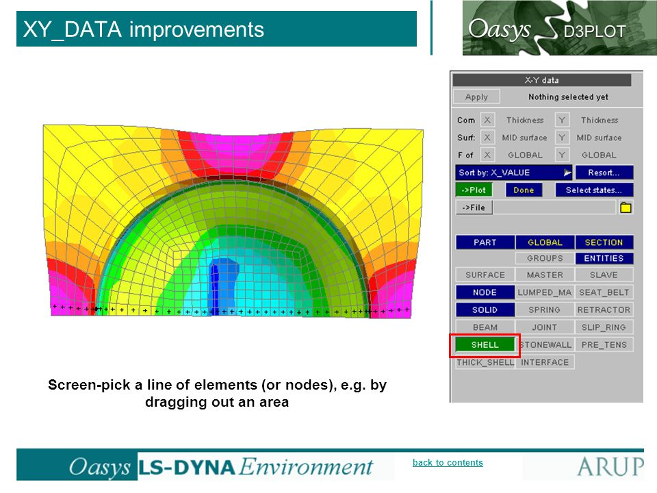 XY_DATA improvements Screen-pick a line of elements (or nodes), e.g. by dragging out an area