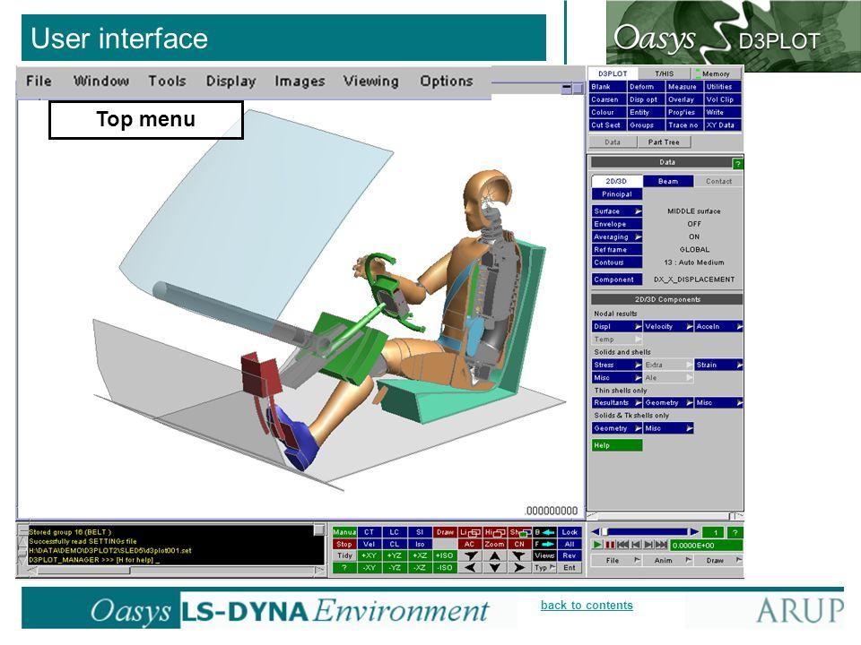 User interface Top menu