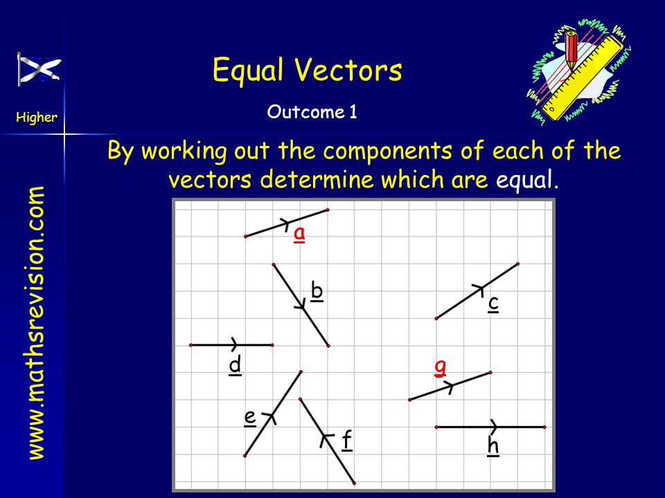 Equal Vectors By working out the components of each of the vectors determine which are equal. a. a.