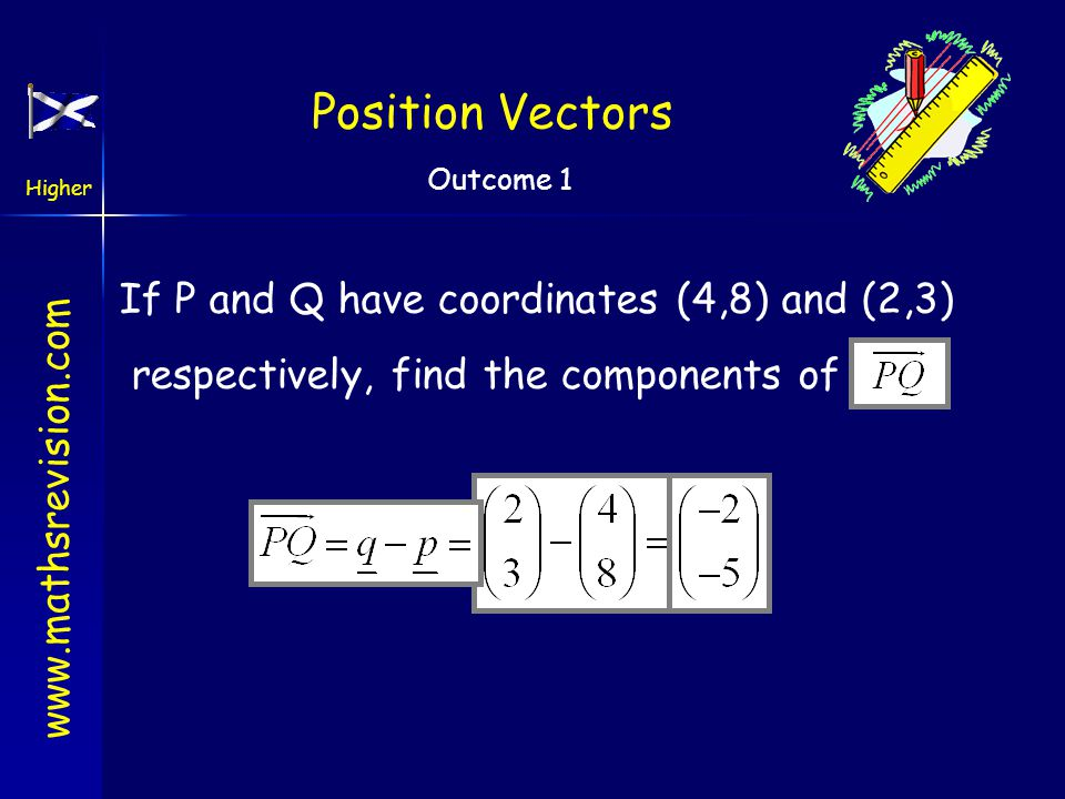 Position Vectors If P and Q have coordinates (4,8) and (2,3)