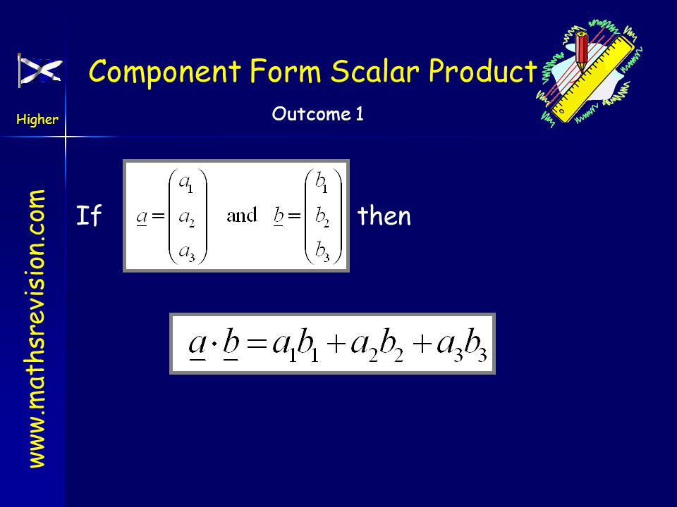 Component Form Scalar Product