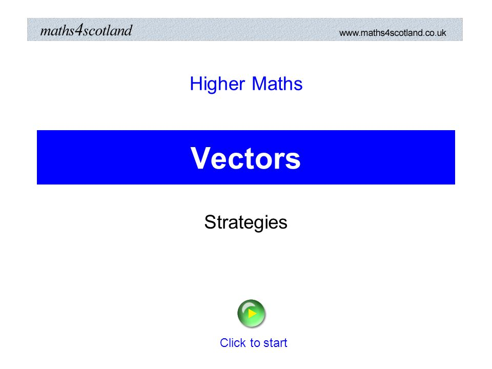 Higher Maths Vectors Strategies Click to start