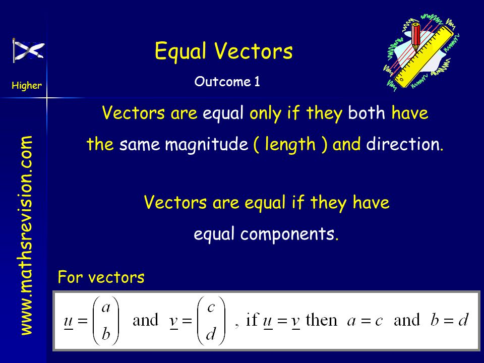 Equal Vectors Vectors are equal only if they both have