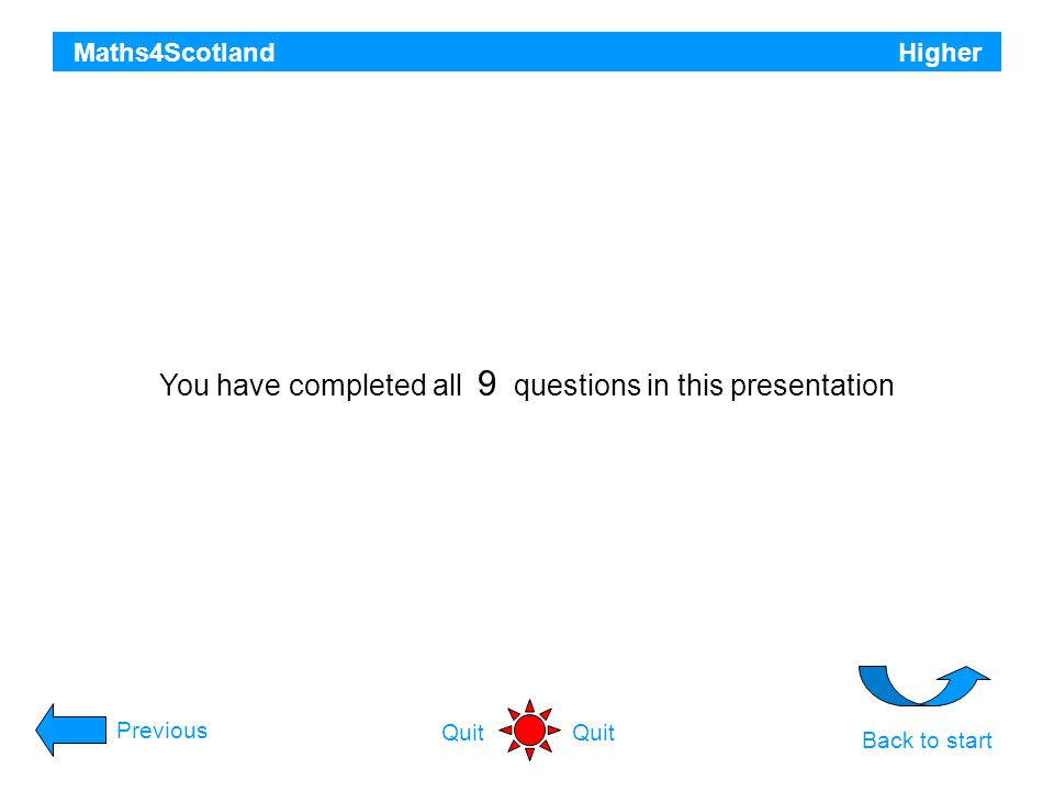 You have completed all 9 questions in this presentation