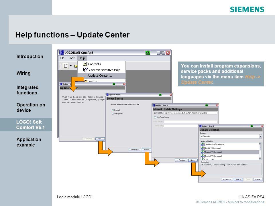 Help functions – Update Center