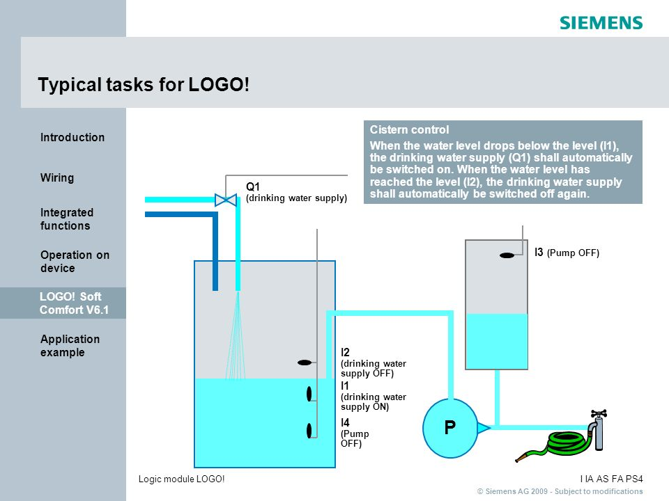 Typical tasks for LOGO! P Cistern control