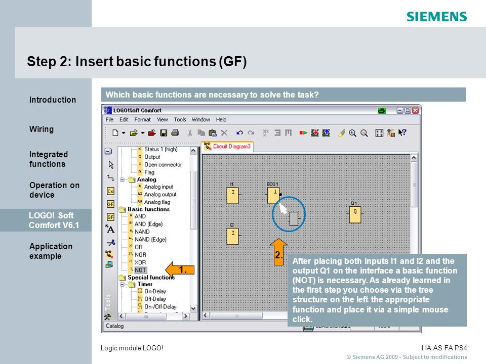 Step 2: Insert basic functions (GF)