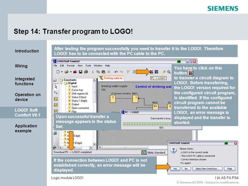 Step 14: Transfer program to LOGO!
