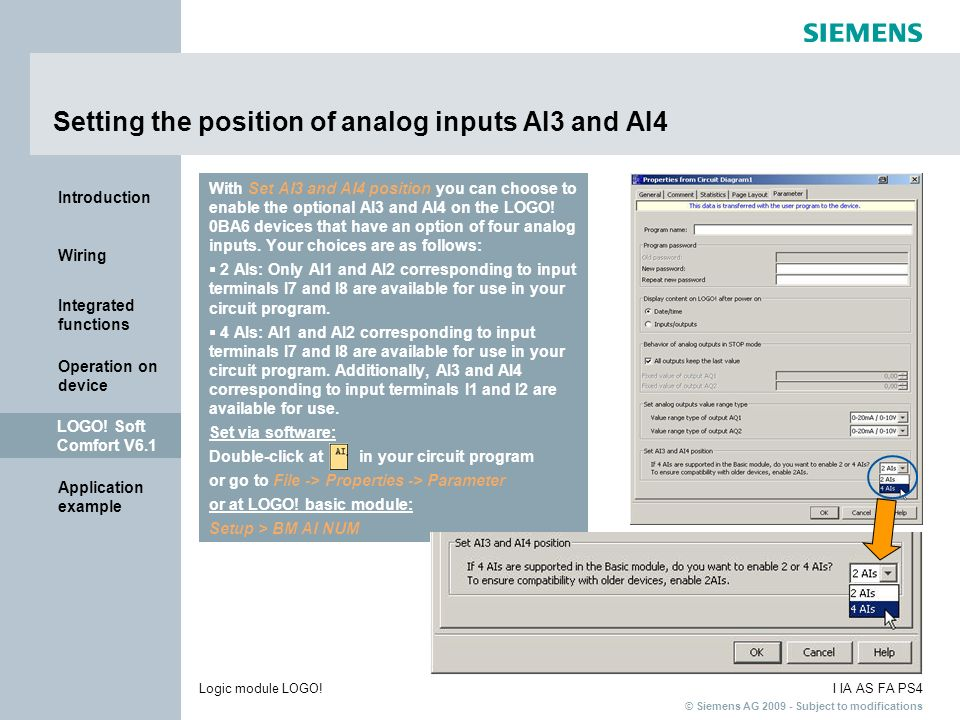 Setting the position of analog inputs AI3 and AI4