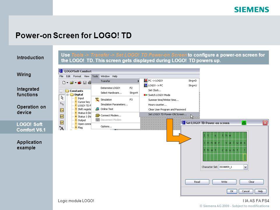 Power-on Screen for LOGO! TD