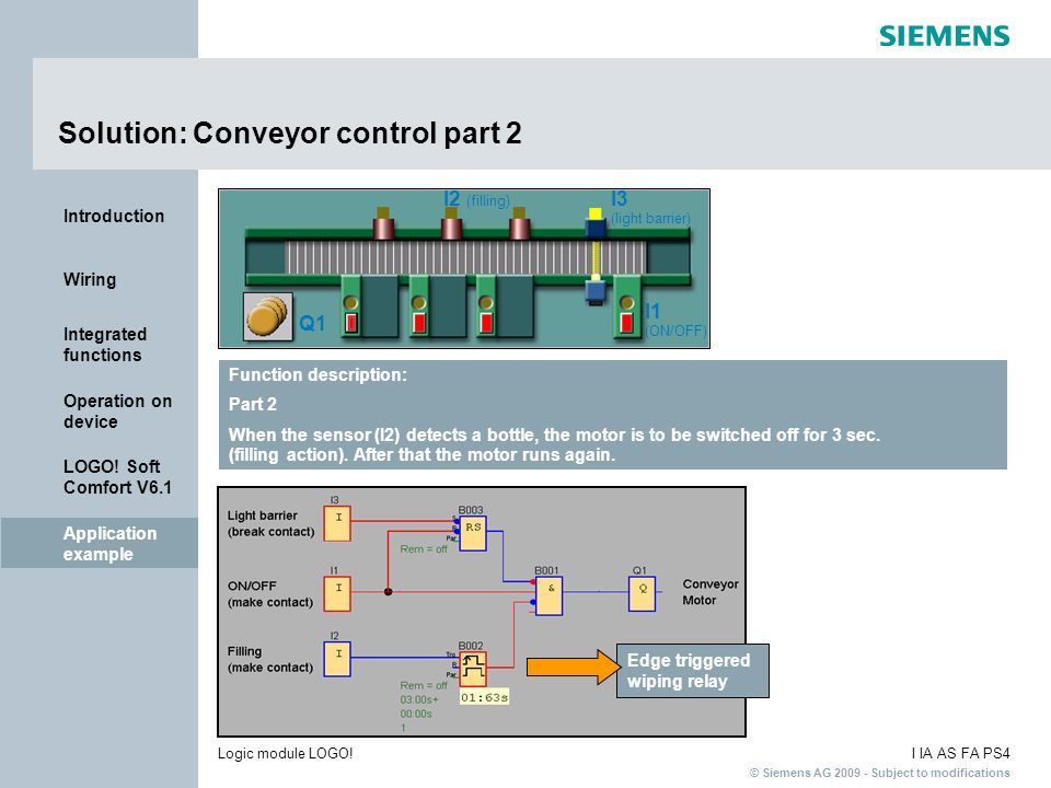 Solution: Conveyor control part 2