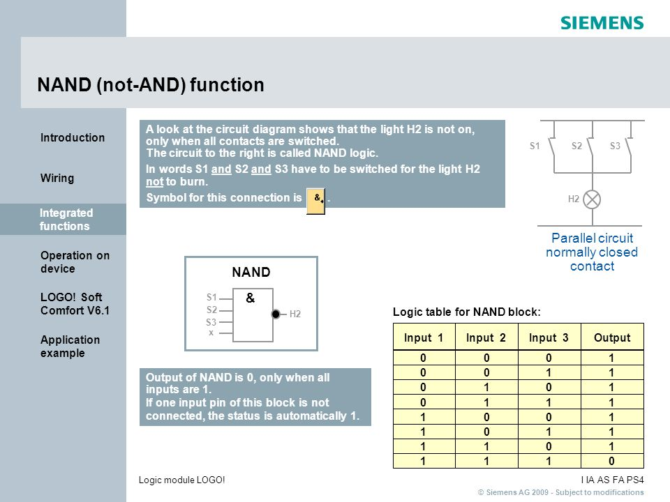 NAND (not-AND) function