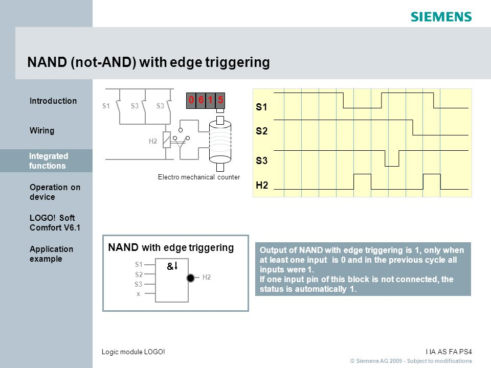 NAND (not-AND) with edge triggering