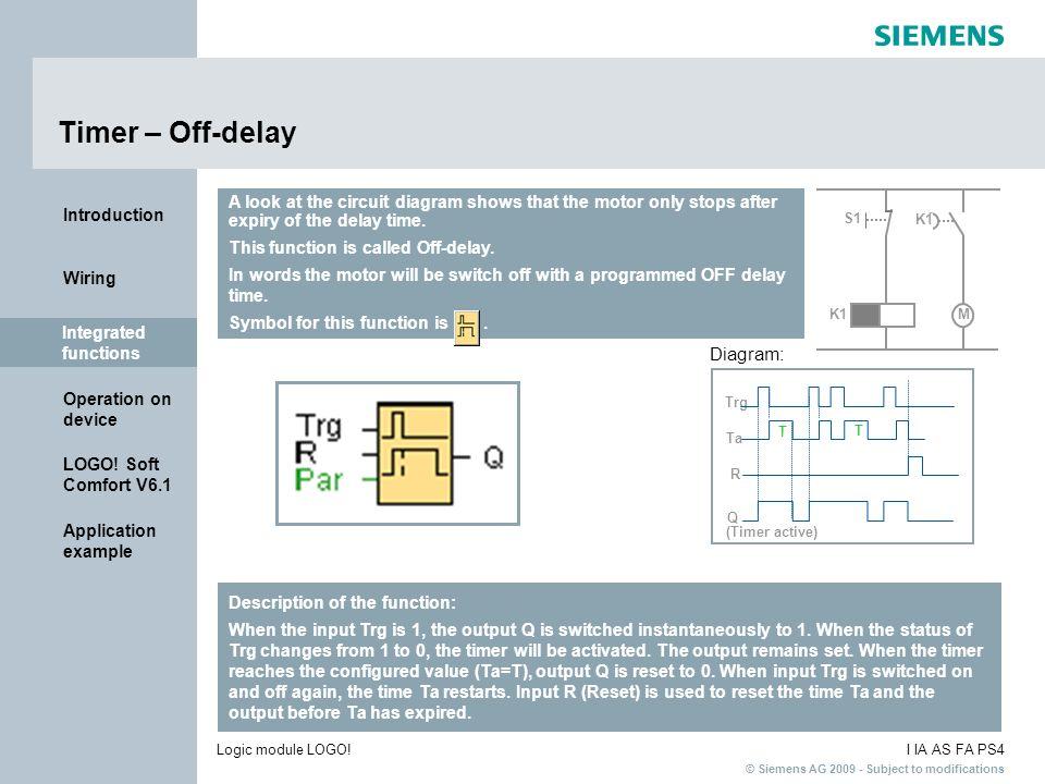 Timer – Off-delay Diagram:
