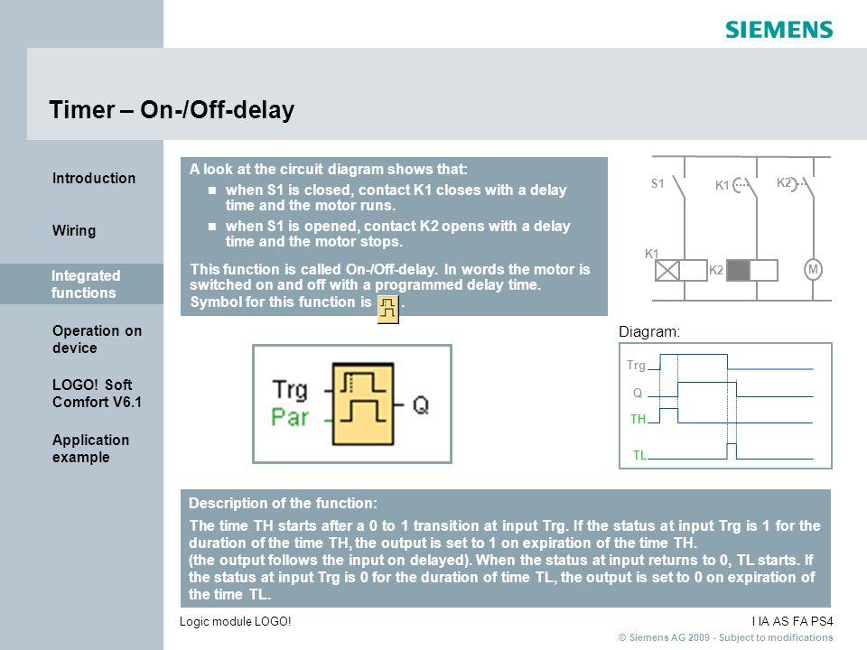Timer – On-/Off-delay Diagram: