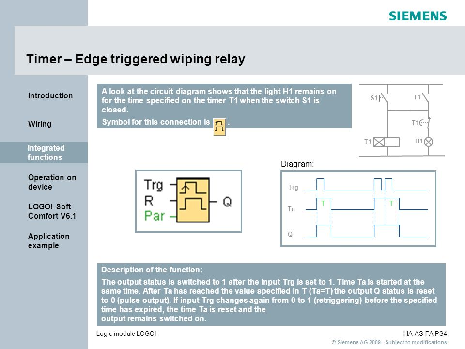 Timer – Edge triggered wiping relay