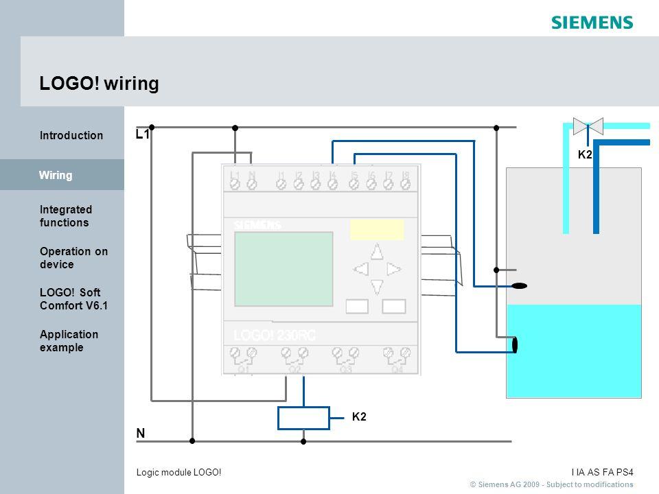 LOGO! wiring L1 N I : 0.. 123456789 1..0123456789 4 2..01234 K2 Wiring