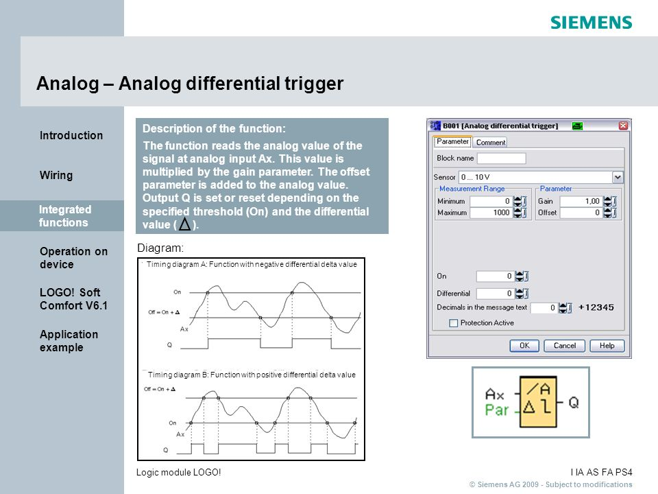 Analog – Analog differential trigger