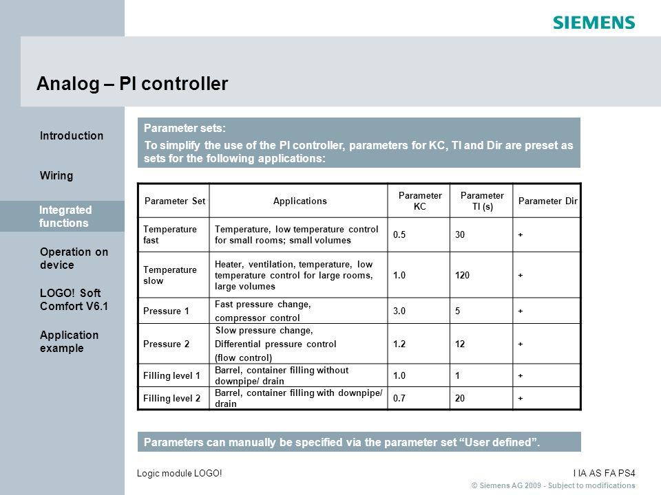 Analog – PI controller Parameter sets: