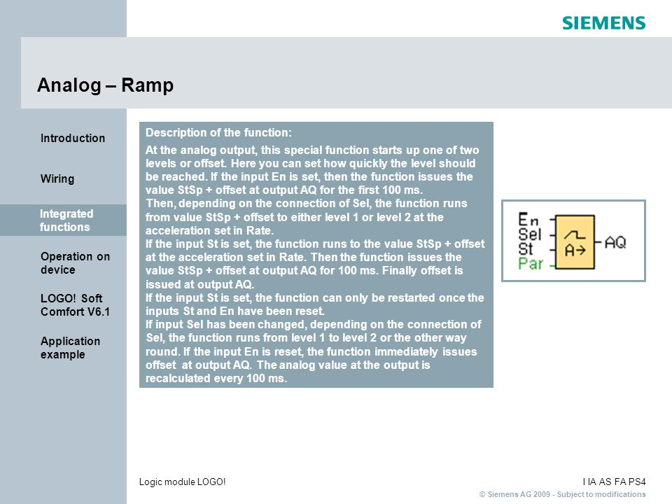Analog – Ramp Description of the function: