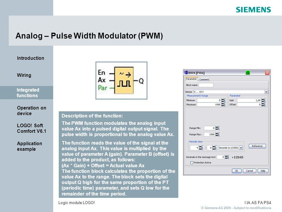 Analog – Pulse Width Modulator (PWM)