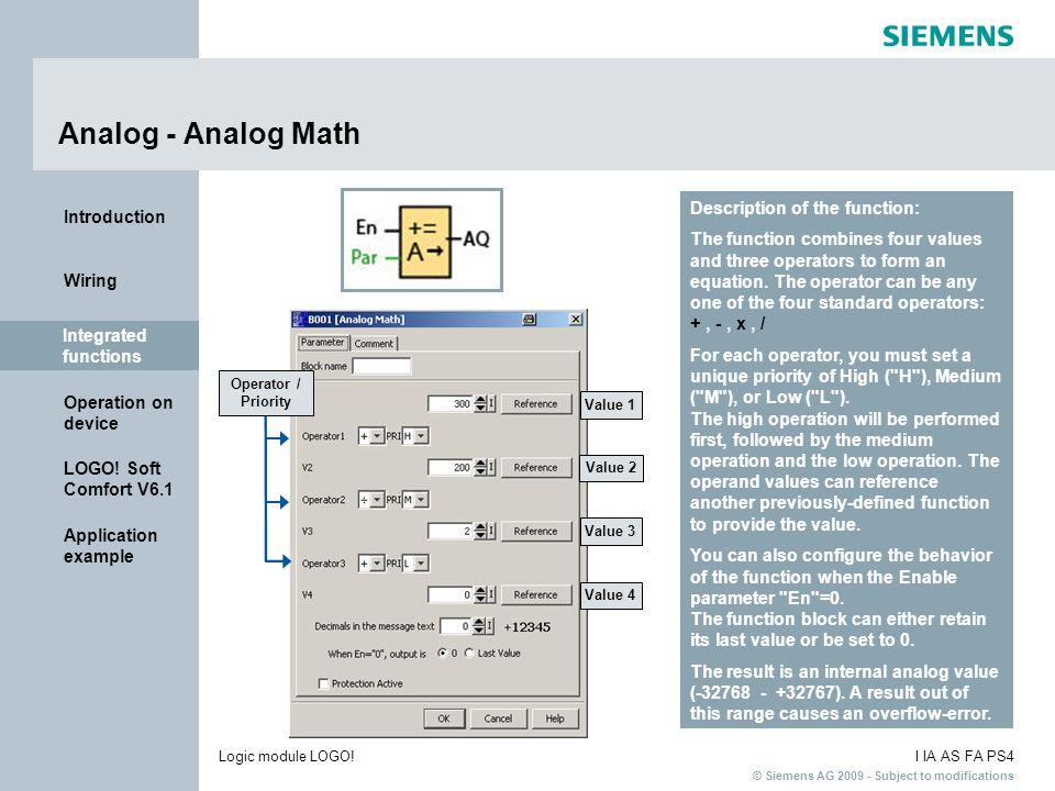 Analog - Analog Math Description of the function: