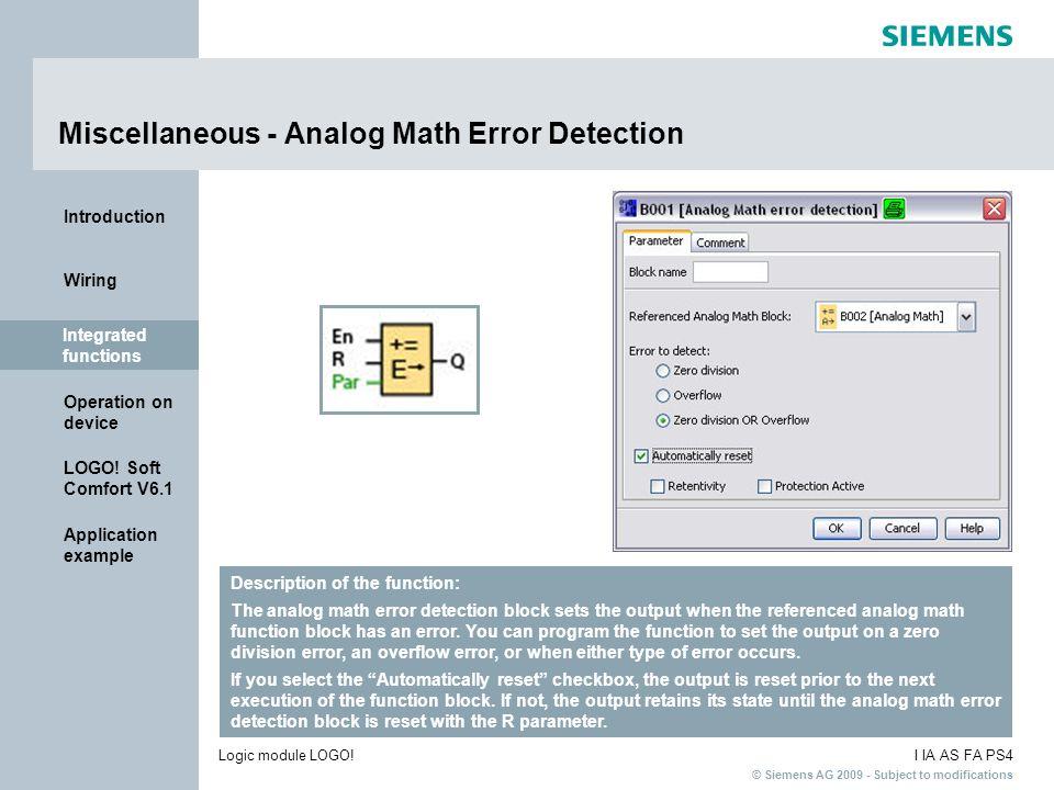 Miscellaneous - Analog Math Error Detection