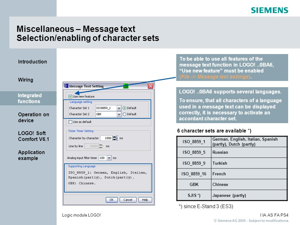 Miscellaneous – Message text Selection/enabling of character sets