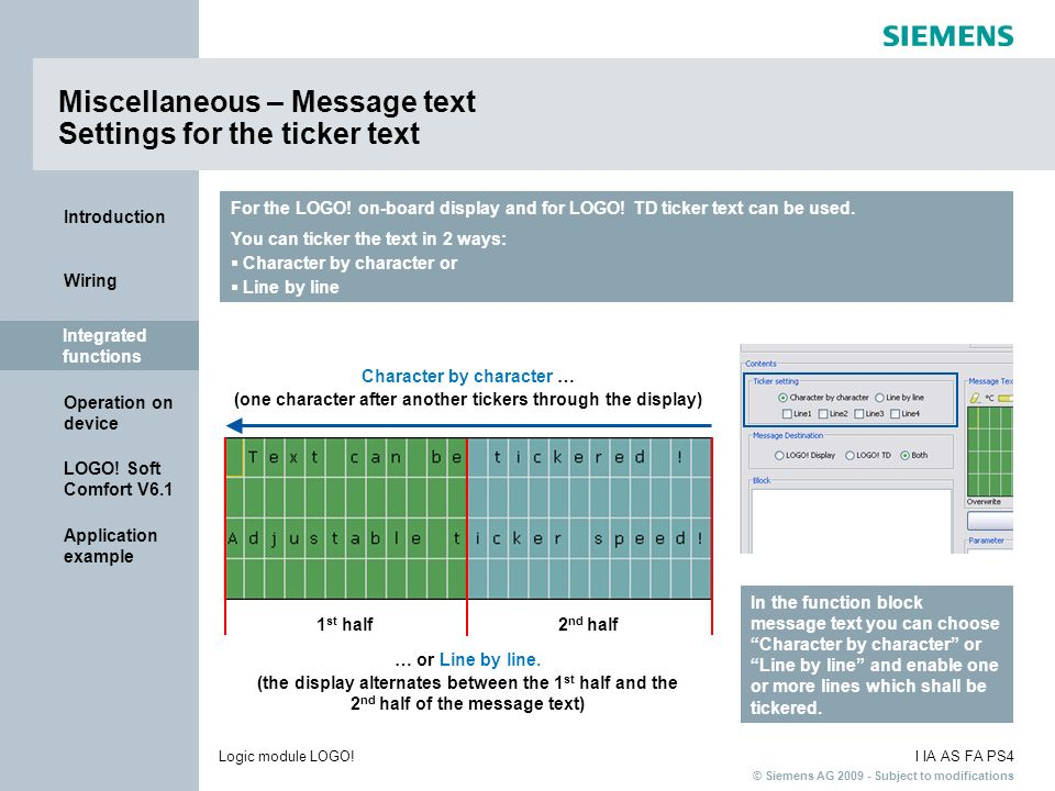 Miscellaneous – Message text Settings for the ticker text
