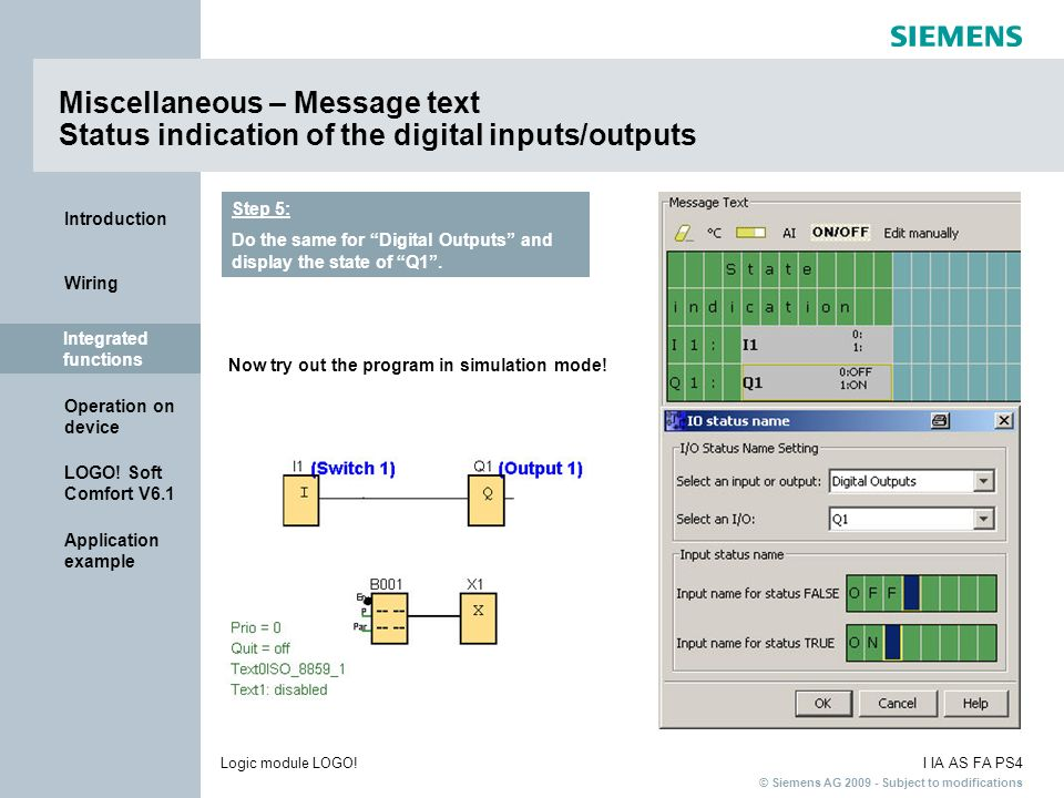 Miscellaneous – Message text Status indication of the digital inputs/outputs