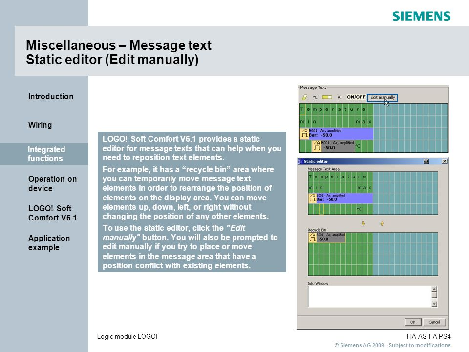 Miscellaneous – Message text Static editor (Edit manually)