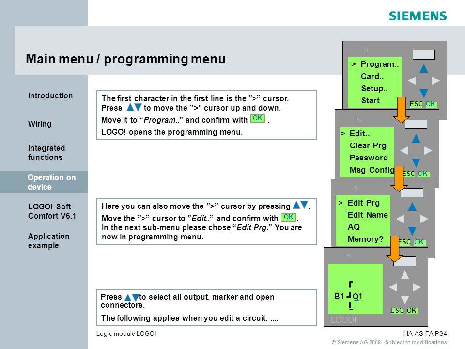 Main menu / programming menu