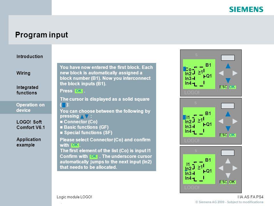 Program input s LOGO! s LOGO! s LOGO! B1