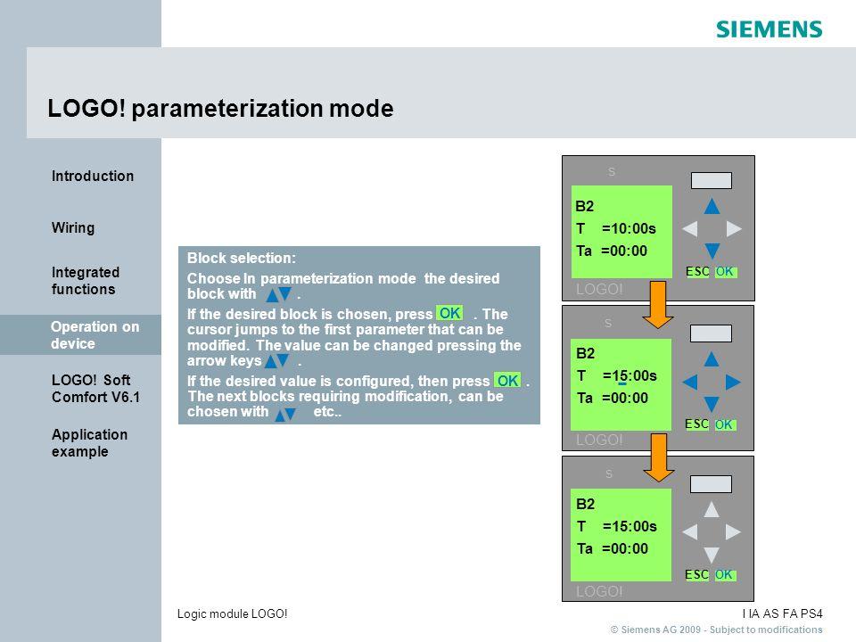 LOGO! parameterization mode