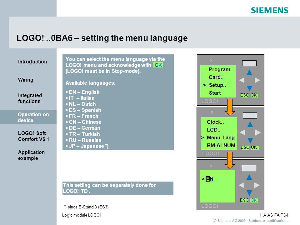 LOGO! ..0BA6 – setting the menu language