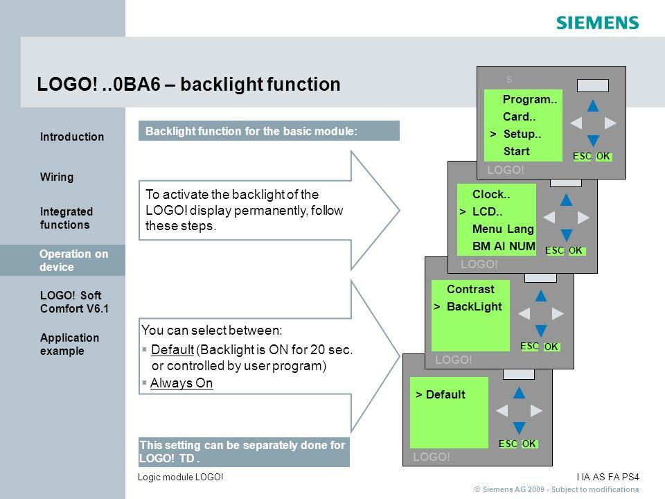 LOGO! ..0BA6 – backlight function