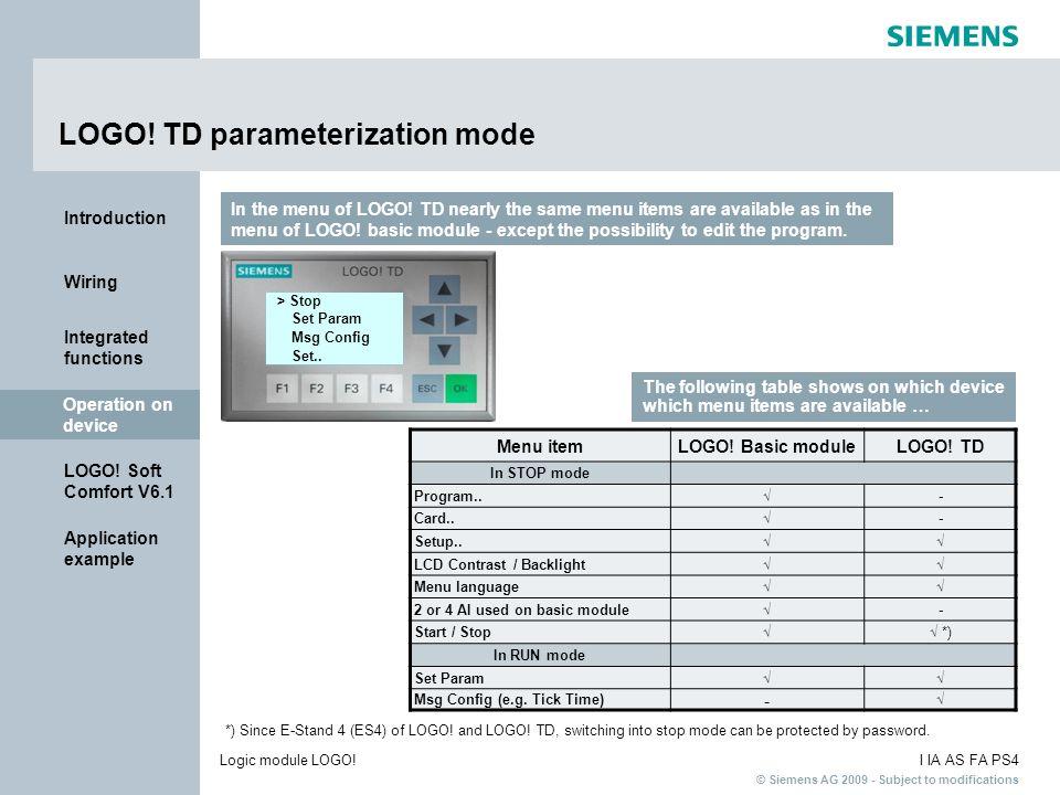 LOGO! TD parameterization mode