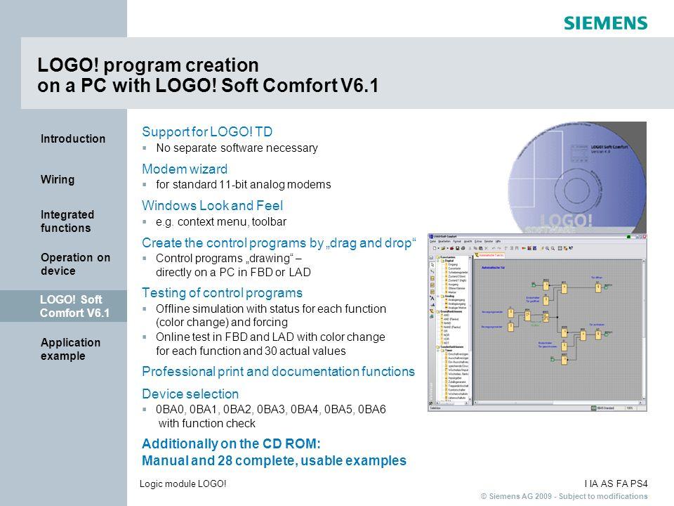LOGO! program creation on a PC with LOGO! Soft Comfort V6.1