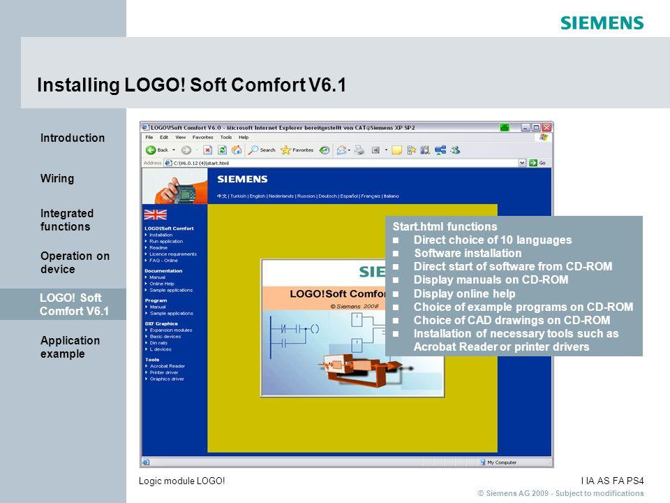 Installing LOGO! Soft Comfort V6.1