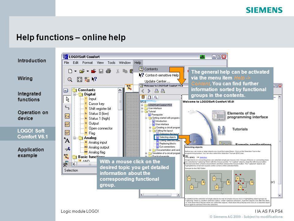 Help functions – online help