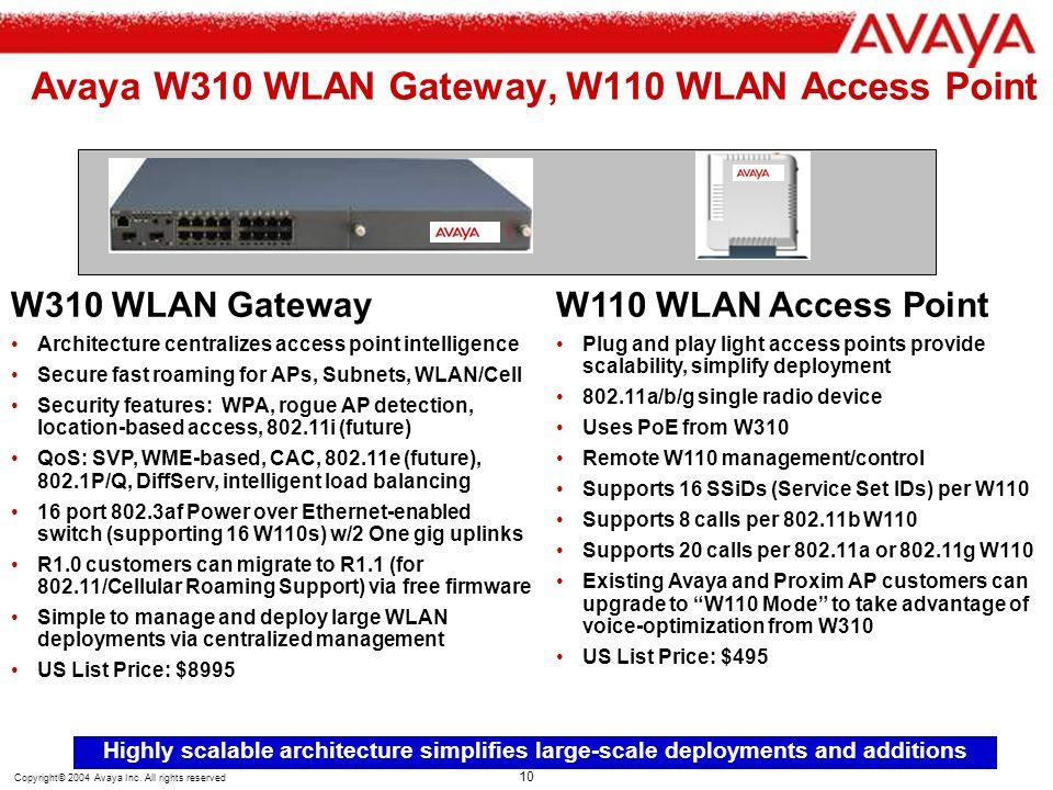Avaya W310 WLAN Gateway, W110 WLAN Access Point