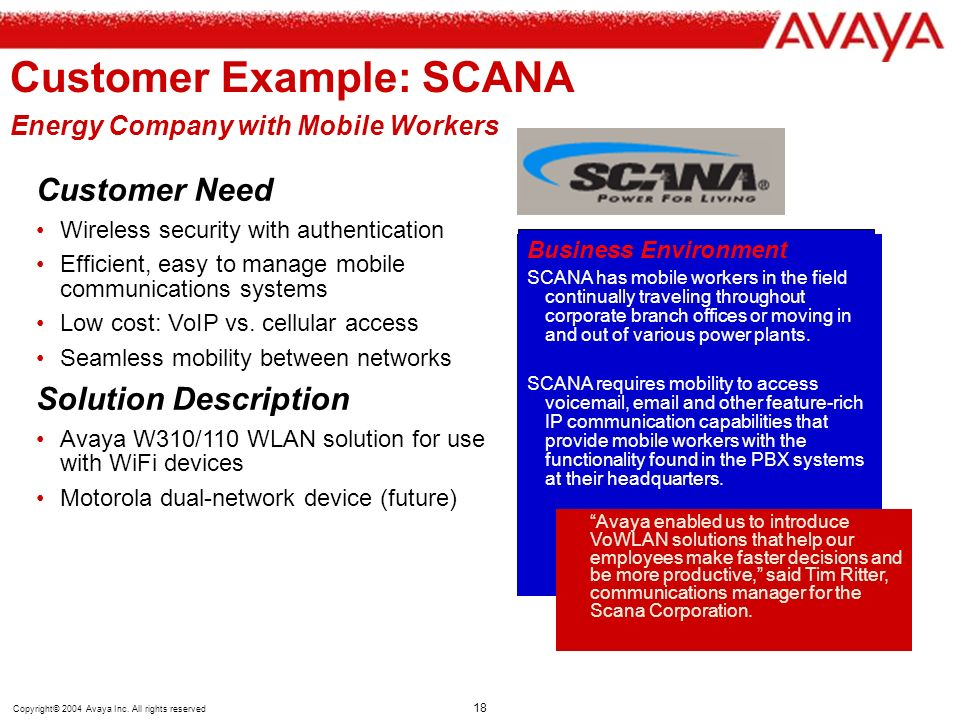 Customer Example: SCANA Energy Company with Mobile Workers
