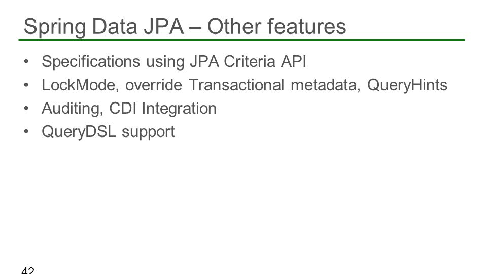 Spring Data JPA – Other features