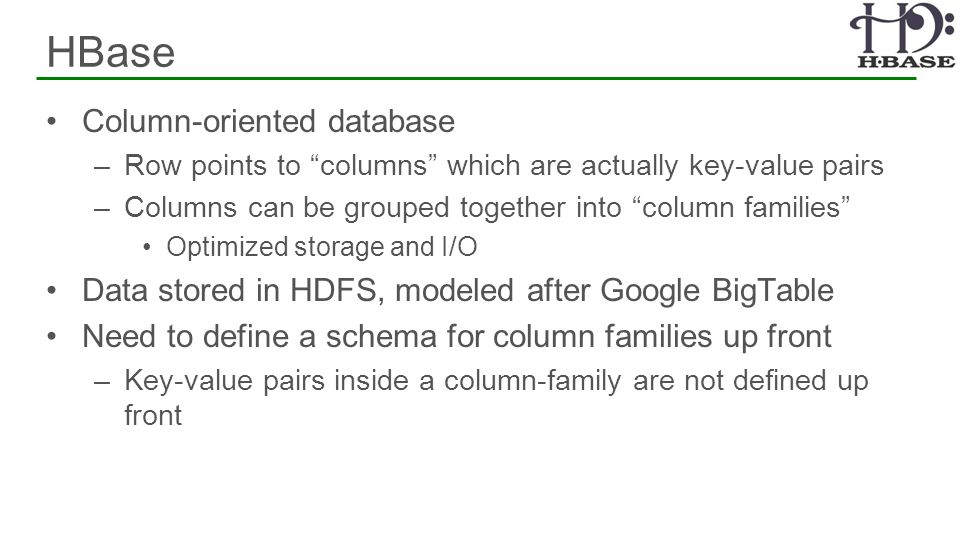 HBase Column-oriented database