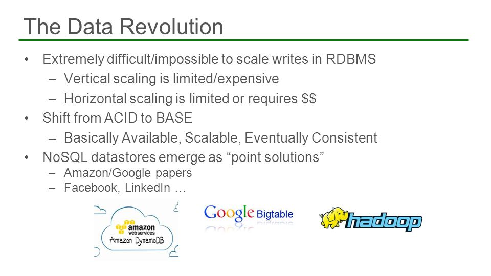 The Data Revolution Extremely difficult/impossible to scale writes in RDBMS. Vertical scaling is limited/expensive.