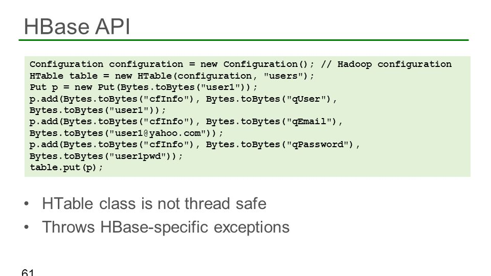 HBase API HTable class is not thread safe