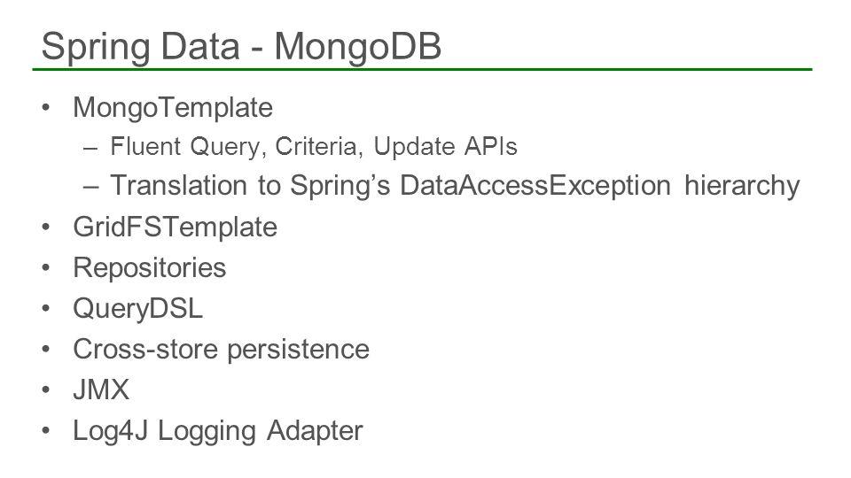 Spring Data - MongoDB MongoTemplate
