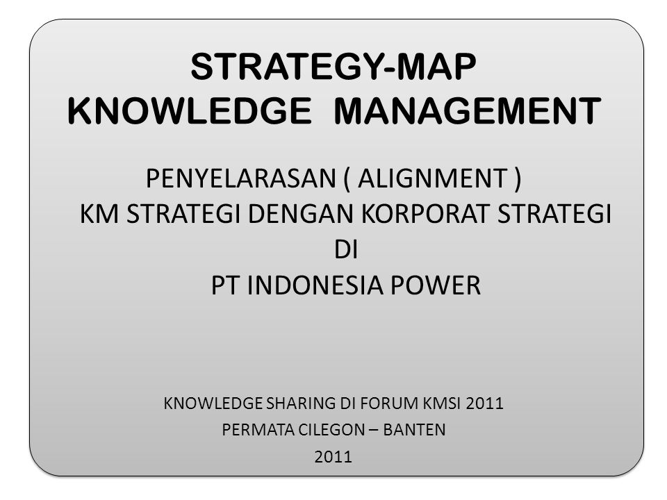 STRATEGY-MAP KNOWLEDGE MANAGEMENT