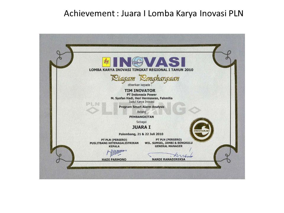 Achievement : Juara I Lomba Karya Inovasi PLN