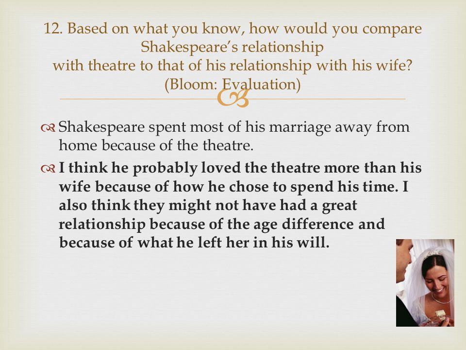 12. Based on what you know, how would you compare Shakespeare's relationship with theatre to that of his relationship with his wife (Bloom: Evaluation)